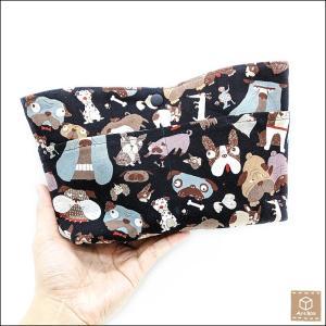 バッグインバッグ 犬柄 ポーチ トラベルポーチ 化粧ポーチ 小物入れ セカンドバッグ ハンドメイド 手作り|artboxkyoto