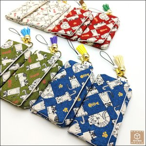 猫柄 ミニポーチ コンタクトケース用ポーチ マジックテープ 小物入れ ねこ雑貨 ネコ ハンドメイド 手作り|artboxkyoto