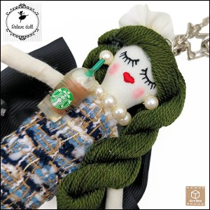 ルルベちゃん バッグチャーム ドールチャーム 人形 手作り ハンドメイド 一点物|artboxkyoto