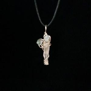 クリスタルとアクアマリンのペンダント01 天然石 ワイヤー ネックレス パワーストーン artboxkyoto