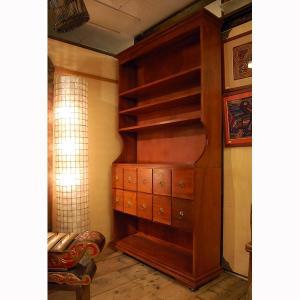 10引出シェルフ 10Drawers Shelf 本棚 カップボード 食器棚 オーディオラック チーク無垢材 インドネシア直輸入 真鍮金具付 artcrew