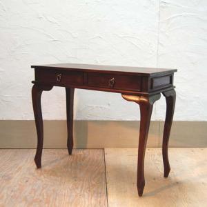 テーブル・パソコンデスク・コンソール2引出・チーク無垢材・インドネシア直輸入・真鍮金具付・|artcrew
