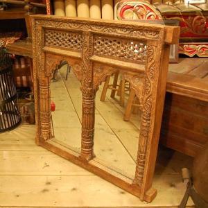 IndiaWoodMirror インド木彫窓枠ミラー インテリア アジアン家具 ヴィンテージ家具 おしゃれ チーク材|artcrew