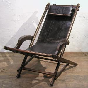 Rocking Chair-Used  折りたたみ式ロッキングチェア・ユーズド チーク無垢材 牛革 天然材 インドネシア直輸入 中古 |artcrew