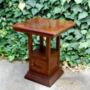 カフェスクエアテーブル60cm・ユーズド・2人掛けテーブル・カフェテーブル・ティーテーブル・チーク・オリジナル家具・インドネシア直輸入・収納付|artcrew