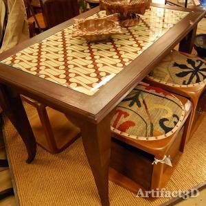 USEDダイニングテーブル130ガラス・4人掛け・チーク無垢材・組立式|artcrew