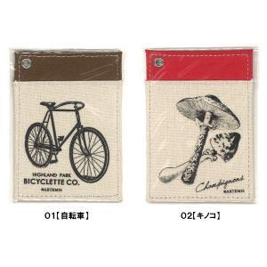 ファブリック パスケース(定期入れ) 【01自転車】 【02キノコ】 /m/ artemis-webshop-2