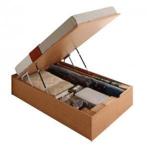 収納付きベッド ヘッドレスベッド 薄型プレミアムポケットコイルマットレス付き 縦開き セミダブル ラージ|artevida-shop