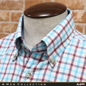 春夏/GREENCLUBS/日本製チェックシャツ やわらか綿100% 胸ポケット ボタンダウン 長袖 カジュアル ゴルフ 紳士 40代 50代 60代 グリーンクラブ|artfish