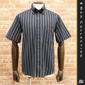 19SS/GREENCLUBS/清涼シャツ 綿100%ストライプ織 薄手 通気性 BD ワッペン付ポケット 日本製 半袖 シック 渋い 大人 40代 50代 60代メンズ ファッション|artfish