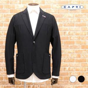 2020春夏 CAPRI 快適ジャケット さらっとナイロン系ジャージー チェック織 襟裏刺繍 伸びる...