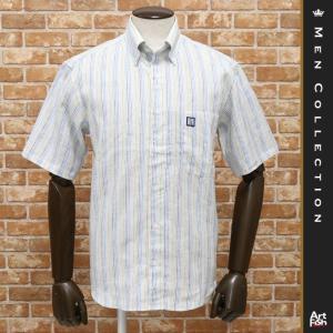 春夏/GREENCLUBS/3色展開 半袖シャツ 日本製 リネン 麻100% 清涼 爽やか 先染めストライプ 18SS 新品 紳士 メンズ グリーンクラブ|artfish