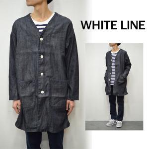 【WHITE LINE|ホワイトライン メンズ】【ラストセール50%OFF】7.5OZデニムノーカラーコート/WLDJ-3003*CT#GH*|arthur