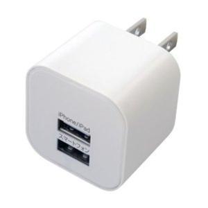 カシムラ AC充電器USB2ポート2.4A WH 100V〜240V対応 海外使用可能 ハイパワー出力5V ホワイト AJ-464|articlestore