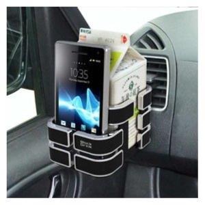 窓枠取り付け例 ヘッドレスト取り付け例 前面スライド構造でスマートフォンやタバコを置くことができるド...