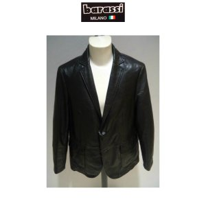 barassi /秋冬/35%OFF/ レザージャケット /50・48・46 サイズ/ブラック/羊革/大きいサイズ/B-BLACKレーベル/現品限り|artigiano-uomo
