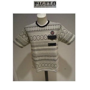 PAGELO<パジェロ>50%OFF/春夏/21新/50%OFF/折り柄 Tシャツ/LL・L・M サイズ/ホワイト/モノートーン/幾何学柄/人気モデル|artigiano-uomo