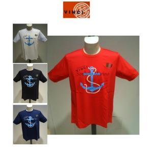 VINCI<ビンチ>春夏/21新/50%OFF/ハイゲージ Tシャツ/50・48・46 サイズ/白・黒・赤・紺/綿100%/ラインストーン&プリント/細番手コットン|artigiano-uomo