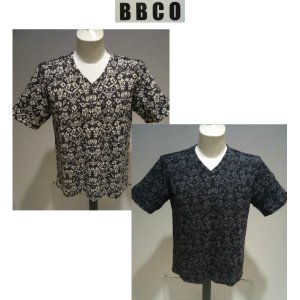 BBCO<ビビコ>春夏/21新/ボタニカル VネックTシャツ/52(3L) サイズ(別注サイズ)ブラック・ホワイト/日本製/パイル風/大きいサイズ/人気モデル/現品限り|artigiano-uomo