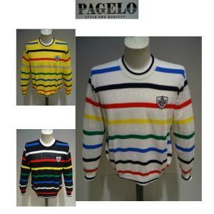 PAGELO<パジェロ>春夏/21新/50%OFF/デザイン セーター /LL・L・M サイズ/白・黒・イエロー /日本製/ロゴ&ボーダー /大きいサイズ/サマーセーター|artigiano-uomo