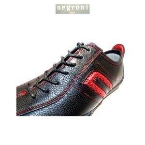negroni(ネグローニ)IDEA/ドライビングシューズ(牛革)ブラック&レッド/24.0cm〜27.0cm各/日本製/3Eサイズ|artigiano-uomo