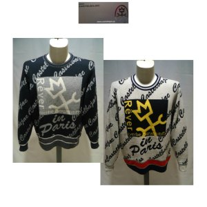 CASTEL BAJAC /秋冬/21新/30%OFF/デザイン セーター/46・48・50 サイズ/ブラック・ホワイト/日本製/家紋モチーフ/人気モデル artigiano-uomo