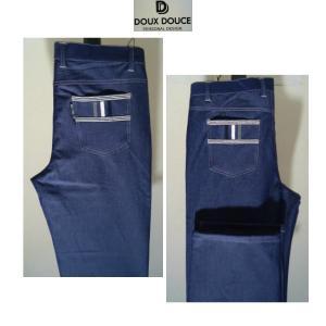 DOUX DOUCE /春夏/21新/ストレッチ インデェゴパンツ/W105~110cm(別注サイズ)Iブルー/大きいサイズ/伸縮性素材/ノータックジーンズ//現品限り|artigiano-uomo