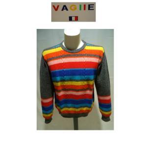 VAGIIE /秋冬/40%OFF/カラーデザイン セーター/48 (L) サイズ/グレー(マルチカラー) 日本製/現品限り|artigiano-uomo