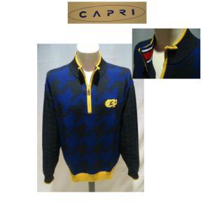 CAPRI /秋冬/50%OFF/ジップup セーター/52(3L) 別注サイズ/ネイビー/日本製/大きいサイズ/ 紳士服 /人気モデル/現品限り artigiano-uomo