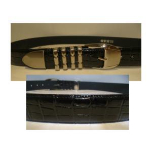 KSD/4連メタル/クロコ型押し&レザーベルト/W95cmOK/ブラック/日本製/大きいサイズ/フリーサイズ/2020年NEWモデル|artigiano-uomo
