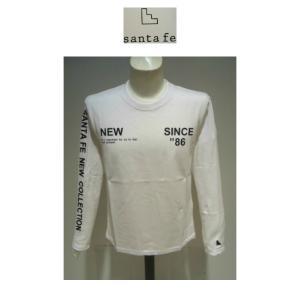 santafe<サンタフェ>21新/3シーズン/20%OFF/ロゴプリント 長袖Tシャツ/52(3L)・50(2L)ホワイト/日本製/綿100%/大きいサイズ/新生santafe|artigiano-uomo