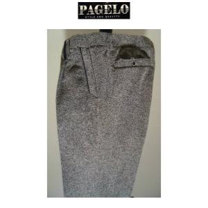 PAGELO/秋冬/50%OFF/ワンタック スラックス/w110cm(オリジナルサイズ)グレー(杢柄)/大きいサイズ/ストレッチ生地/1点限り|artigiano-uomo