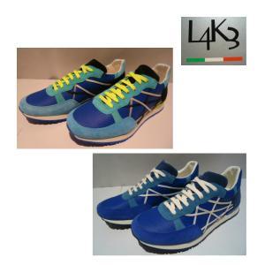 L4K3<レイク>40%OFF/インポート スニーカー/40・41・42・43 サイズ /ブルー&イエロー紐・ブルー&ホワイト紐/イタリア製/並行輸入品//現品処分|artigiano-uomo