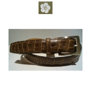 Crocodile/クロコダイル レザーベルト/Fサイズ (W100cm以上OK) Dブラウン/日本製/オリジナル/1点限り artigiano-uomo