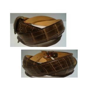 Crocodile/クロコダイル レザーベルト/Fサイズ (W100cm以上OK) Dブラウン/日本製/オリジナル/1点限り artigiano-uomo 02