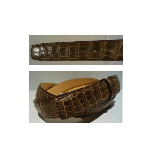Crocodile/クロコダイル レザーベルト/Fサイズ (W100cm以上OK) Dブラウン/日本製/オリジナル/1点限り artigiano-uomo 03