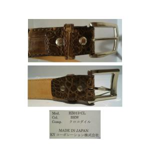 Crocodile/クロコダイル レザーベルト/Fサイズ (W100cm以上OK) Dブラウン/日本製/オリジナル/1点限り artigiano-uomo 04