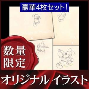 オリジナルイラスト4枚セット ミッキーマウス (Mickey's Nightmare/ディズニー グッズ 鉛筆画) /額装サービス|artis
