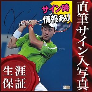 直筆サイン入り写真 錦織 圭 /テニス 選手 グッズ ラケットを持った写真 /ブロマイド オートグラフ
