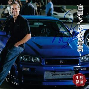 直筆サイン入り写真 ワイルドスピード グッズ ブライアン ポール・ウォーカー /青い車 映画 ブロマイド 画像 オートグラフ /フレーム別|artis