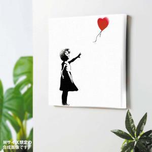 Banksy balloon girl壁掛け 玄関 壁飾り 絵画 インテリア アート ファブリックパ...