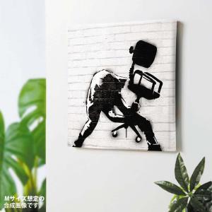 Banksy キャンバスパネル Chair Smash バンクシー グラフィティアート 作品 ポスタ...