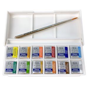 [ ゆうパケット可 ]  ウィンザー&ニュートン コットマン 固形絵の具 ポケットボックス 12色セット 【 絵画 絵具 水彩 えのぐ 透明 固形 水彩画 】 artloco