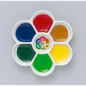 梅皿顔彩 基本色 6色セット 陶器梅皿入り 【 日本画 水墨画 絵具 岩絵具 顔彩 】