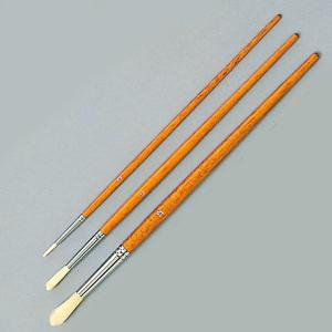 短柄 豚毛  茶軸  丸0号、丸6号、丸12号  通常の油絵筆より少し短い水彩筆の軸で仕立てています...