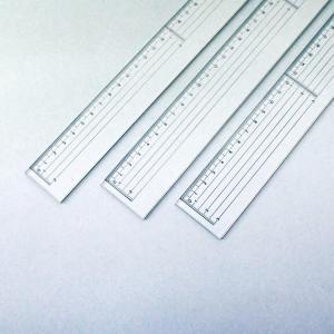 カッティング定規 アクリル製 ステンレスエッジ付 400mm 【 製図 定規 溝 直 デザイン 物差...