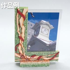 [ ゆうパケット可 ]  L型 両面写真立て 朴材 【 工作 手作り 作品 飾り 写真 】|artloco