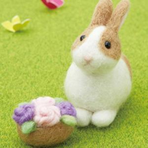 [ メール便可 ] サンクラフト ふわふわ フェルトキット 花摘みウサギ 【 羊毛 フェルト セット...