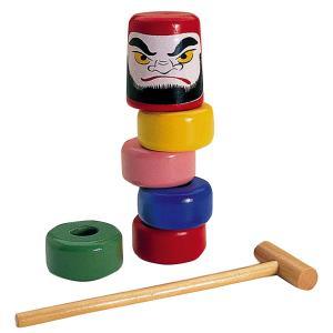 だるま落とし 完成品 【 民芸品 昔 おもちゃ 玩具 だるま落とし 】|artloco