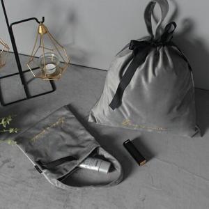 ネコポス送料無料 ベロア 巾着 34cm×30.5cm グレー ブルー【art of black】 artofblackshop